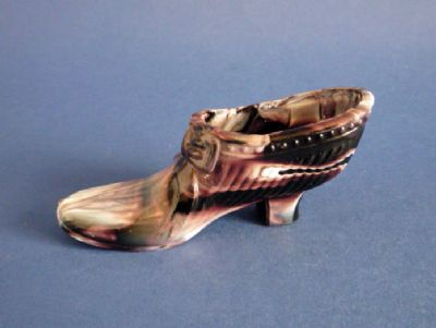 Sowerby Purple Malachite Slag Glass Buckled Shoe c1887